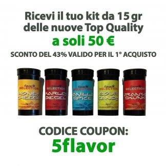 mix barattoli offerta 50 e 324x324 - Five Flavor Pack - 15gr - Kit Promo Cannabis Legale -20% primo-piano, kit-pack-promo, cannabis-light