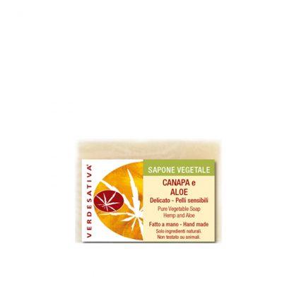 sapone canapa e aloe artigianale naturale verdesativa 416x416 - Sapone Canapa e Aloe - 100g - Verdesativa novita, detergenti-e-saponi, cosmesi-e-salute