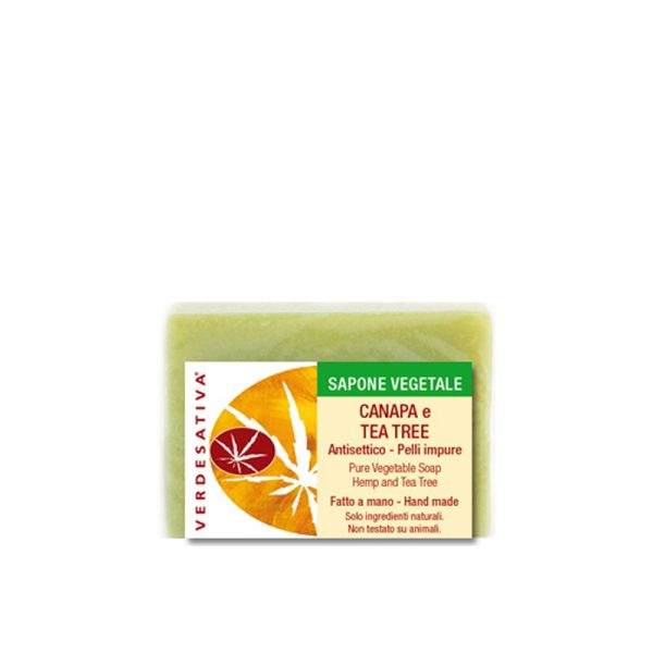 sapone canapa e tea tree antisettico verdesativa 600x600 - Biosapone Artigianale Extra - Tea Tree - Verdesativa detergenti-e-saponi, cosmesi-alla-canapa