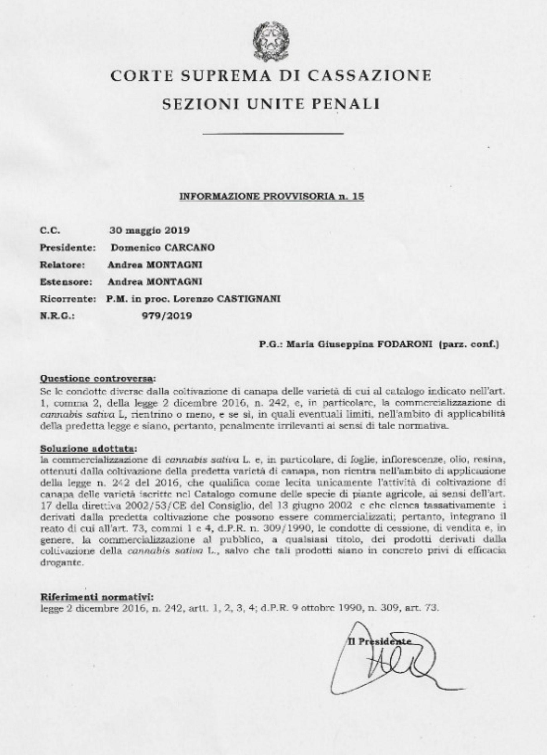 sentenza cassazione scaled - Sentenza Corte Suprema di Cassazione - 30 Maggio informazioni, cannabis-light